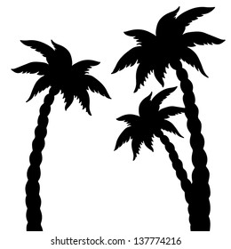 Set coconut palms trees silhouettes isolated on white background. Abstract design logo. Logotype art - vector