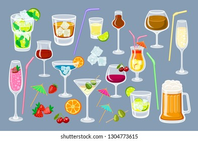 Set of coctails. classic Alcoholic drinks isolated on grey background glass of champagne, margarita, brandy, whiskey with ice, cocktail, wine, vodka, tequila and cognac. Vector illustration art