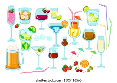 Set of coctails. classic Alcoholic drinks isolated on white background glass of champagne, margarita, brandy, whiskey with ice, cocktail, wine, vodka, tequila and cognac. Vector illustration art