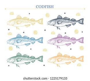 Set of codfish images. Unique hand-drawn silhouettes of codfish+lemon slices and black pepper. Yellow, grey, blue, green, pink, orange. Vector. Isolated on white.