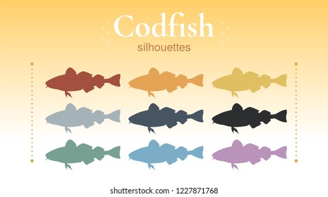 Set of codfish silhouettes. Unique hand-drawn silhouettes of codfish. Yellow, grey, blue, green, pink, orange, red, black. Vector. Isolated on background.