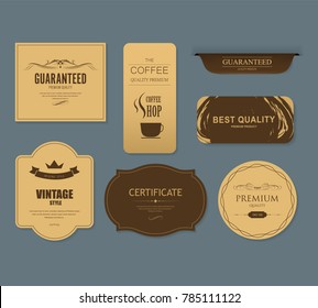 Set of coffee and bakery label for design vintage style. Banner vector.