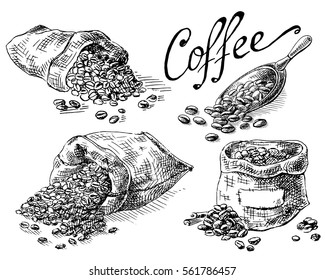 set of coffee beans in bag in graphic style