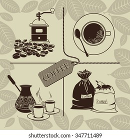 Set of coffee beans, grinder, cup of coffee and sacks