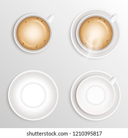Set of coffee Beverage cappuccino, white ceramic cup or mug and empty round saucer isolated on white background. Realistic vector illustration