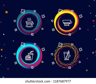 Set of Coffee cup, Bombon coffee and Hamburger icons. Tea mug sign. Tea mug, Cafe bombon, Burger with drink. Cup with teaspoon.  Circle banners with line icons. Gradient colors shapes. Vector