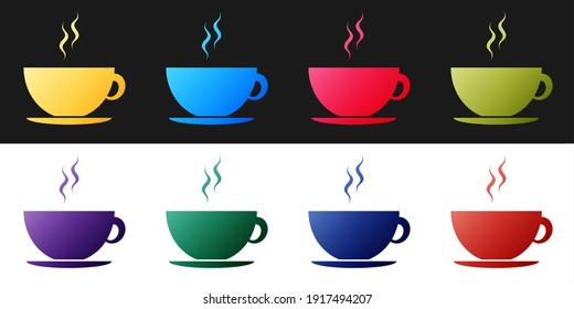 Set Coffee cup icon isolated on black and white background. Tea cup. Hot drink coffee. Vector.