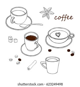Set of coffee cups, cinnamon, coffee beans. Vector illustration.