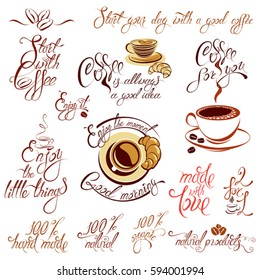 Set of coffee cups icons, stylized sketch symbols and hand drawn calligraphic text Start with coffee, made with love, Enjoy the moment, etc. Elements for menu, cafe or restaurant design.