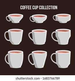 Set of coffee cups. Coffee menu vector illustration.