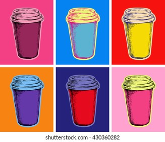 Set Coffee Cups Vector Illustration Pop Art Style