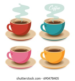 Set of Coffee Cups. Vector Illustration. Flat Style. Decorative Design for Cafeteria, Posters, Banners, Cards