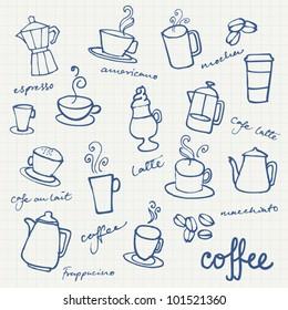 Set of Coffee doodles vector