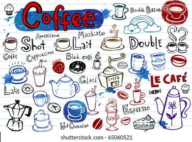 Set of Coffee doodles, vector illustration