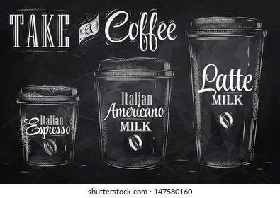Set of coffee drinking cup different sizes  in vintage style drawing with chalk on blackboard.