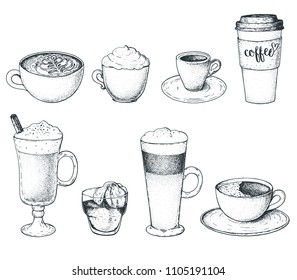 Set of coffee drinks, vector illustration. Sketch elements for coffee shop menu. Different coffee drinks.