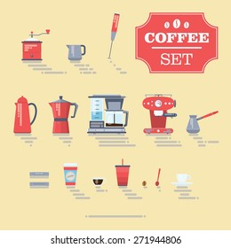 Set Of Coffee Elements and Coffee Accessories. Flat Style Vector Illustration.