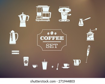 Set Of Coffee Elements and Coffee Accessories. Silhouette Icons. Vector Illustration