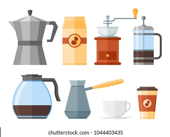 Set of coffee elements isolated on white background. French press, coffee makers, cup, pot, grinder and packaging. Flat style icons. Vector illustration.