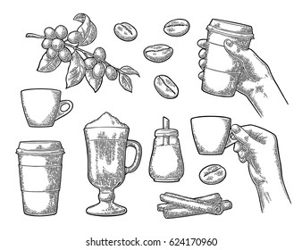 Set coffee. Glass latte macchiato with whipped cream and cinnamon stick. Hand hold cup. Branch with leaf, berry, beans. Sugar. Vintage black vector engraving illustration isolated on white background