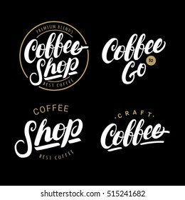 Set of coffee hand written lettering logos, labels, badges. Isolated on black background. Design elements. Vintage style. Vector illustration.