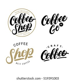Set of coffee hand written lettering logos, labels, badges. Modern brush calligraphy. Isolated on white background. Design elements. Vintage style. Vector illustration.