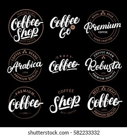 Set of Coffee hand written lettering logo, label, badge, emblem. Modern brush calligraphy. Vintage retro style. Isolated on black background. Vector illustration.