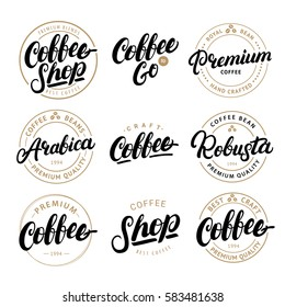 Set of Coffee hand written lettering logo, label, badge, emblem. Modern brush calligraphy. Vintage retro style. Isolated on black background. Vector illustration.