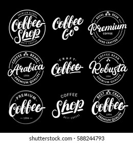 Set of Coffee hand written lettering logo, label, badge, emblem. Modern brush calligraphy. Vintage retro style. Isolated on white background. Vector illustration.