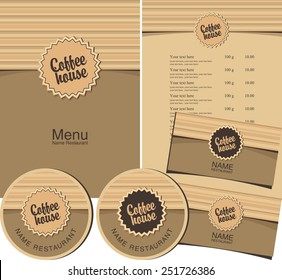 set for the coffee house menu, business cards and coasters for drinks