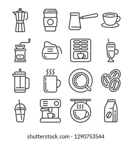 Set of coffee house or shop outline icons. Vector illustration.
