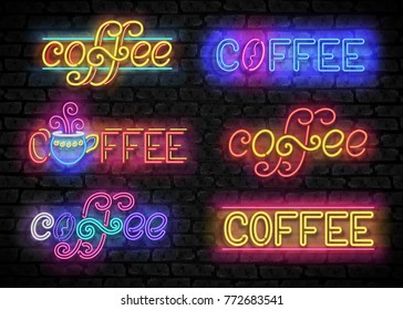 Set of Coffee House Vintage Singboards. Cafe Label, Restaurant. Shiny Neon Light Style Lettering. Advertisement Flyer, Poster, Banner Template. Vector 3d Illustration. Abstract Decorative Art