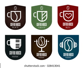 Set of coffee icons. Logo and design for coffee shops, cafes, music,web design, business. Music and color coffee icons.