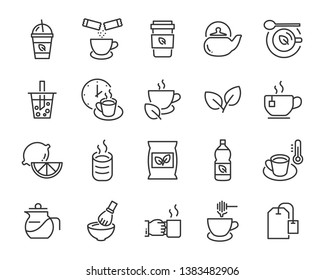 set of coffee icons, such as ice coffee, cup, teapot, beverage, cafe, breakfast
