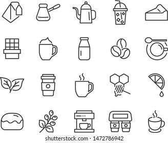 set of coffee icons, tea, breaktime, chocolate, cake