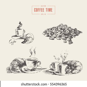 Set of coffee illustrations, hand drawn vector illustration, sketch