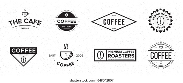 Set of coffee label. Different logo, badge, emblem collection on white background. Vector black and white illustrations.