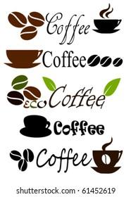 Set of coffee label or logo designs. Vector illustration