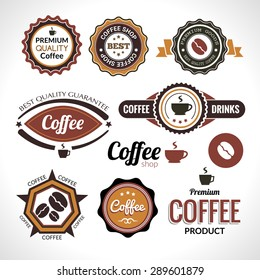 Set of coffee labels and badges. Retro style coffee vintage