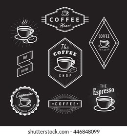 Set coffee labels vintage logos blackboard retro vector template