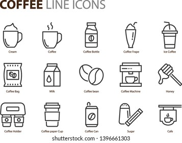 set of coffee line icons, such as ice coffee, milk, restaurant, coffee bean, bar, cafe