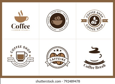 Set of Coffee logo and label. Set of vector coffee elements and coffee illustration can be used as logo or icon in premium quality. Coffee logotype. Vector illustration
