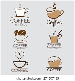 Set coffee logo, labels, design templates