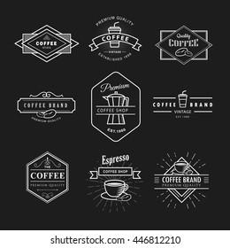 Set coffee logo vintage label blackboard vector template