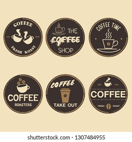 Set of coffee logos design templates set vector illustration. Good for cafeteria signages and cafe label and badges. Retro typography emblems. - Vector