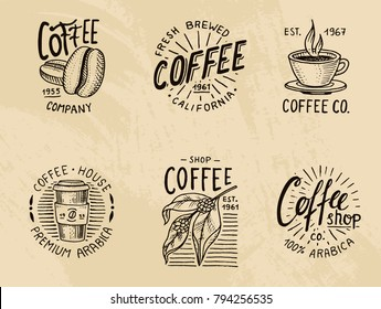 Set of coffee logos. modern vintage elements for the shop menu. Vector illustration. design decoration collection for badges. calligraphy style for frames, labels. . engraved hand drawn in old sketch.