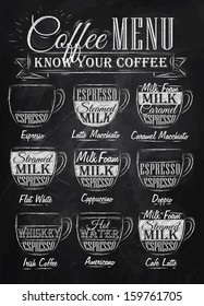 Set of coffee menu with a cups and names of drinks in retro style drawing with chalk on chalkboard background.