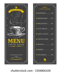 Set for a coffee menu. Vector illustration. Hand drawn cup with coffee on a dark background.