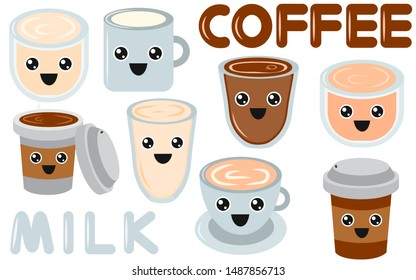 Set of coffee and milk emoji cup with eyes. Hot chocolate. Element for menu. Emoji icon. Vector illustaration of hot tea and coffee.