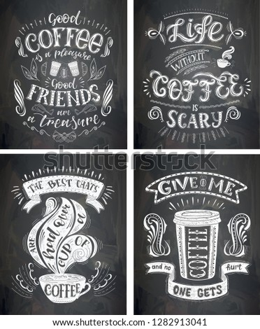 Set Coffee Quotes On Chalkboard Vector Stock Vector Royalty Free